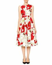 Dolce & Gabbana Poppy & Daisy Open-Back Party Dress, Red/Black/Whit Size - 46/12
