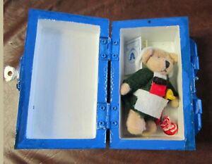 "Becassine Bear 2 3/4""  Souvenir Dressed as Doll in Blue Case"