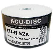 600x ACU-Disc Pro 52x 700 MB CD-R Stampabile A Getto D'inchiostro 80Min Bianco con Contorno continuo