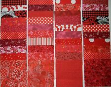 """40 red  4"""" x 4"""" fabric squares 2 squares from 20 different prints"""