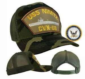 USS Nimitz Hat CVN-68 Hat Camo Ball Cap  MESH BACK TRUCKER  w/Free Navy Sticker