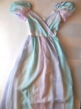 VTG 70s 80s Prom Party Dress Pastel Stripe Big Pouf Poof Sleeve Princess Union
