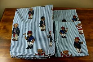 SET Of RALPH LAUREN Sheets Teddy Bears Striped Size Full - Great Condition