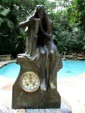 "Antique Gilbert ""KLIO"" Terracotta Mantle Clock 1904"