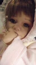 "21"" Lifelike baby doll Geli Thumbsucking Infant Blue eyes Bunny pink Soft Body"
