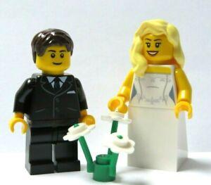 LEGO Wedding Minifigure Bride Blonde Hair & Groom Black Suit Brown Hair