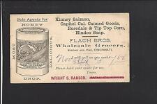 CINCINNATI,OHIO 1886 GOVERNMENT POSTAL CARD, ADVT FLACH BROS., WHOLESALE GROCERS