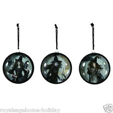 X46780 Vintage-look Black Dress Magic Women Witches Halloween Glass Ornament