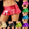 Sexy Women Metallic Mini Skirt Micro Bodycon Wet Look Shiny Clubwear Short Dress