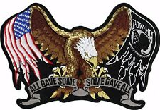 """Pow Mia Eagle Patch All Gave Some US Flag Large Motorcycle Jacket Biker 11"""""""