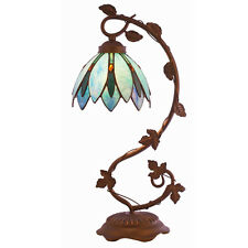 """20.75"""" LOTUS FLOWER TIFFANY STYLE TABLE LAMP STAINED GLASS #15534 BLUE"""