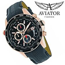 AVIATOR Watch Rose Gold Stainless Steel Case World Time Pilot Mens Chronograph