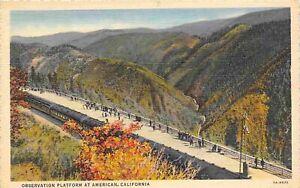 Observation Platform American Sierra Nevada Mountains California linen postcard