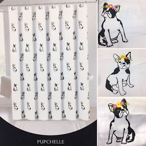 Cynthia Rowley Boston Terrier Shower Curtain Floral French Bulldog Black White