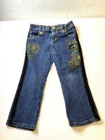 Baby Phat Girls Jeans Sz 3T Blue Authentic Cat Embroidery Velvet Stripe