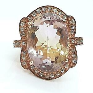 Vintage 16.00ctw Old Rose Cut F-SI Diamond & Ametrine 14K Rose Gold 925 Ring