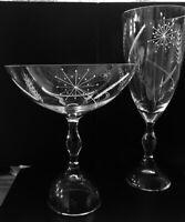 MINT! Signed Set VICKE LINDSTRAND KOSTA BODA SWEDEN Clear Etched Glass Bowl, Cup
