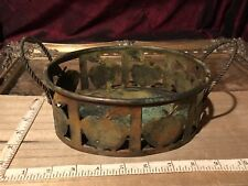 "Rustic Metal Oval Bowl Cut Out Apple Desing w/ Twisted Handles 8 3/4""x5 5/8"""