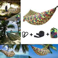 Portable Double Camping Hammock Nylon Tents Travel Outdoor Sleeping Swing Bed US