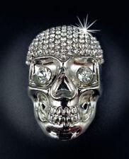 Brosche Magnet Totenkopf Taschenclip Strass Tuchhalter Schal Skull silber NEU