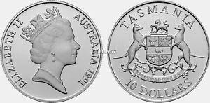 1991 Australian Tasmania $10 silver Proof boxed