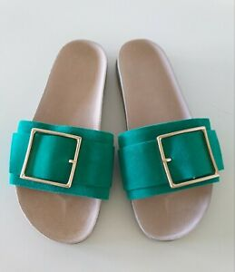 SEED HERITAGE PEACOCK GREEN SLIDES SIZE 40 AS NEW