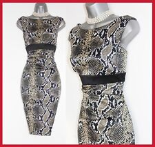 Exquisite Karen Millen Snake Print Satin Wiggle Occasion Pencil Dress UK 12 EU40