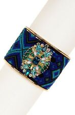 Gold Tone Multi Color Blue Fabric and Stone Cuff Bracelet