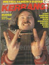 Kerrang Magazine No 29 1982 Budgie Rock Goddess Gary Barden Venom Kiss Saxon
