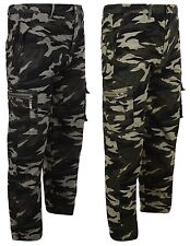 BOYS CARGO TROUSERS ARMY CAMOUFLAGE MULTIPOCKET COMBAT PANT 4-12 YEARS NEW