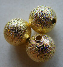 50pcs 10mm Round Brass Stardust Metal Spacers - Bright Gold