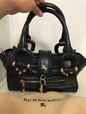 Vintage Authentic Burberry Black Leather Handbag