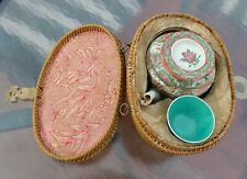 New listing Antique Chinese Famille Rose Porcelain Tea Pot Basket with Tea Pot and Cup Qing