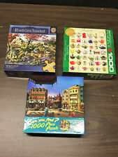 Lot of 3 1000 PC Puzzles Teapots Find Roads Master Pieces Ceaco Eurographics
