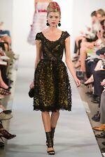 Oscar de la Renta NEW $5.5K Runway Black Pink Lace Sequin Midi Gown Dress 6US