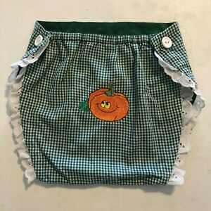 Green Gingham Jack O Lantern Lacey Diaper Cover Lined Halloween Fall Autumn