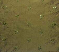 "RAMBAGH PALACE JADE GREEN S3011 FLEUR DE LIS 100% SILK TAFFETA FABRIC BTY 54""W"