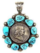 1963 Ben Franklin Half Dollar Coin Sleeping Beauty Turquoise 925 Silver Pendant