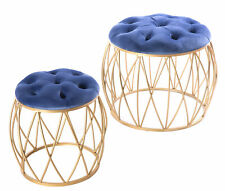 New Bold Tones Round Tufted Blue Velvet Gold Metal Stool, Set of 2, QI003516.2