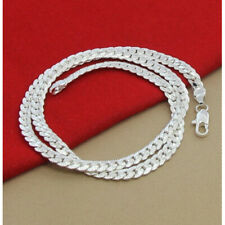"""2 Types 925Sterling Silver 5MM Full Sideway Gentle Men's Chains Necklace 20"""" 22"""""""