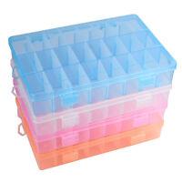 Plastic 10/15/24 Slots Adjustable Jewelry Storage Box Case Craft Organizer Bead