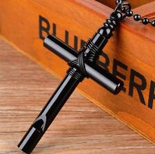 Charm Men Black White Whistle Cross Pendant With Unisex's Chain Necklace Jewelry