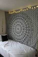 Black and White Mandala Tapestry Indian Wall Hanging Twin Hippie Elephant Print