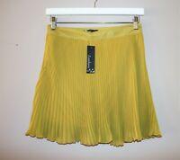 Sambara Brand Mustard Chiffon Pleated Skirt Size 8 BNWT [sv85]