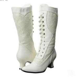 Wedding Bridal Lace Women's Mid Calf Side Zip Boots Pointy Toe Kitten Mid Heels