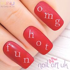 Personalised White Capital Letters Adhesive Decal Nail Art Stickers - Name, word