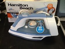 Hamition Beach Durathon Nonstick Iron W/ Cord Wrap Blue Opened box