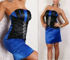 Blue Black Satin Party Cocktail Dress Race Ball Vintage Chic Ladies Sz 8 10