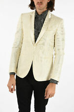 JUST CAVALLI men Suit Jackets Sz 48 IT Ivory Patterned Single Breasted Blazer...