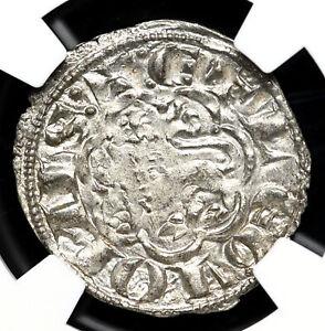 "SPAIN. Fernando IV ""The Summoned"", 1295-1312. Billon Pepion, NGC MS62"